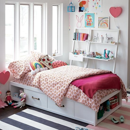 Kids White Glaze Topside Storage Bed