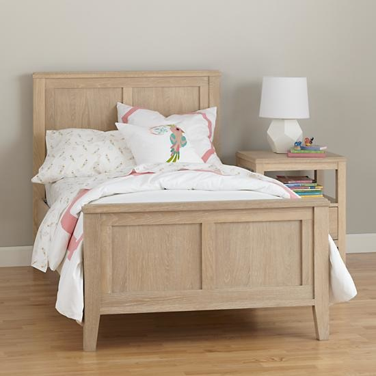 Whitewash Bayside Rustic Wood Grain Panel Bed