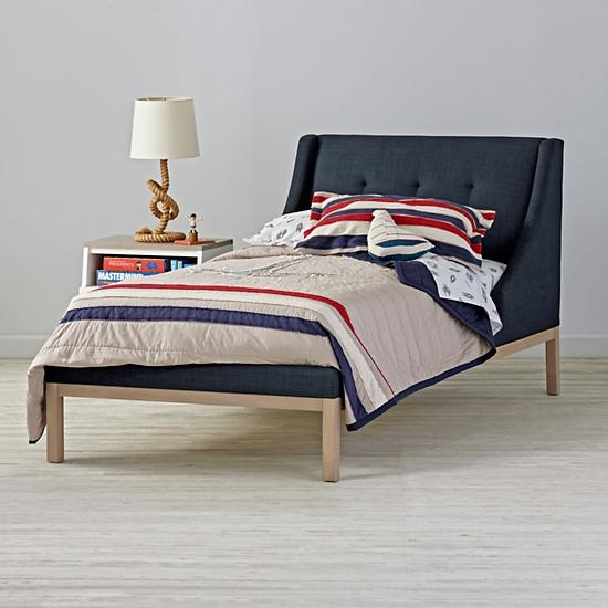 Kids Gallery Navy Upholstered Wing Bed