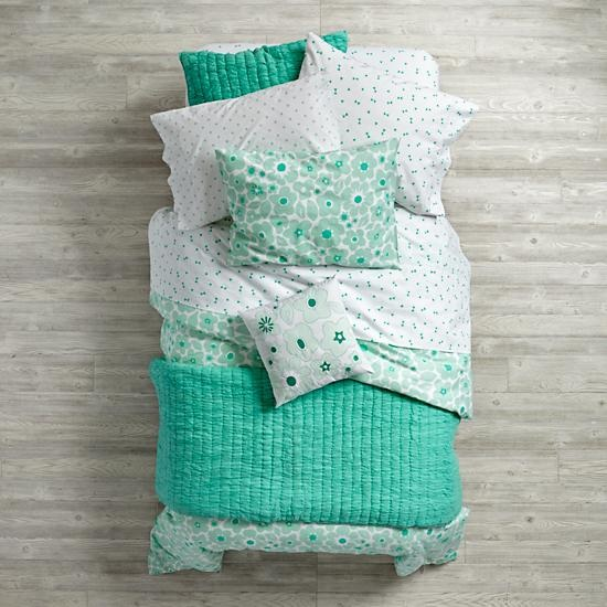 Mint Go Lightly Girls Bedding