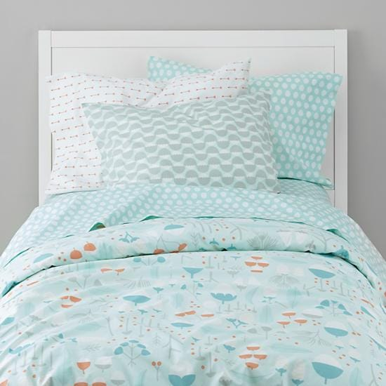Blue Well Nested Forest Organic Girls Bedding