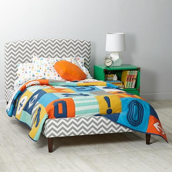 Zig Zag Ash Upholstered Patterned Bed