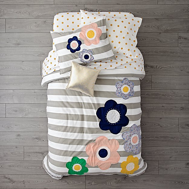 Grey Striped with Flowers Girls Bedding
